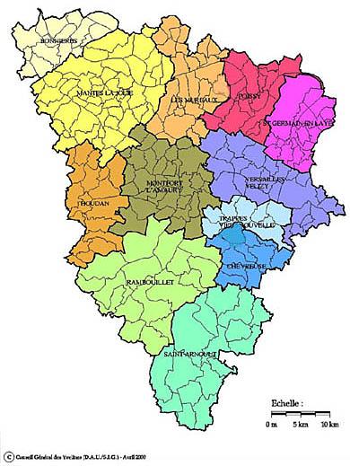 Carte des zones g ographiques des yvelines notice for Se balader dans les yvelines