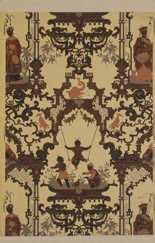 Decor Chinois Papier Peint Pp 412 Dessin De Guichard Et Poterlet